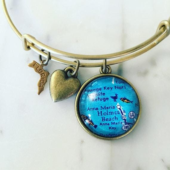 Anna Maria Island Florida Map Charm Bangle Bracelet Map Etsy