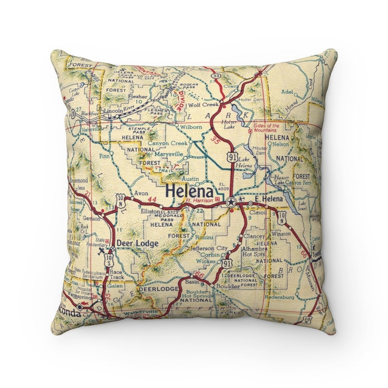 Helena Montana Vintage Map Pillow - Helena Pillow - Helena Housewarming  Gift - Helena Wedding Gift