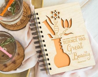 Science Has Great Beauty- Lasercut Wood Journal