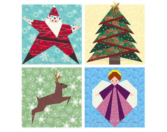 image 0 - Christmas Quilt Pattern Pack Paper Piecing Quilt Patterns Etsy