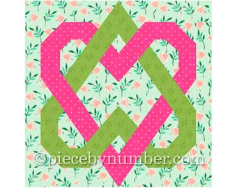 Linked Hearts paper pieced quilt block pattern, instant download PDF, celtic love knot, heart quilt pattern, wedding quilt, valentine gift