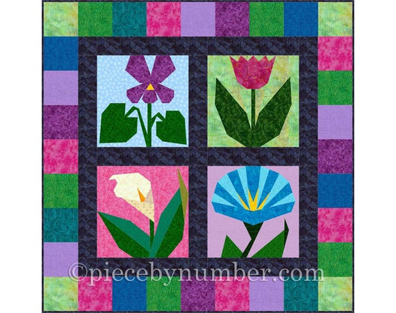 Morning In May 4 Paper Pieced Flower Quilt Block Patterns Etsy