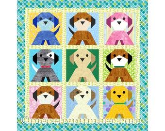Puppy Dog quilt block, paper piecing quilt patterns, instant download PDF quilt patterns, dog quilt patterns, puppy animal quilt patterns