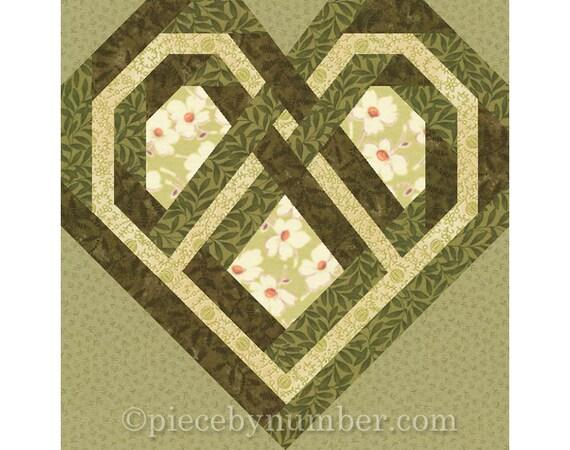 Celtic Heart Quilt Block Paper Pieced Quilt Patterns Instant Etsy Unique Heart Quilt Pattern