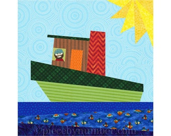 Tugboat paper piecing quilt block pattern, INSTANT DOWNLOAD, foundation piecing, nautical boat quilts, transportation kids boys quilts
