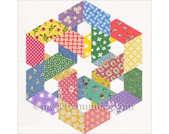 Hexagonia quilt block pattern, instant download paper pieced quilt pattern, celtic knot quilt pattern, hexagon quilt pattern, geometric
