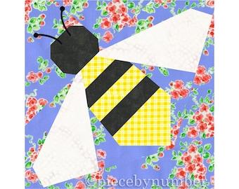Honey Bee paper pieced quilt block pattern, instant download, bumblebee, nature, garden, honeybee