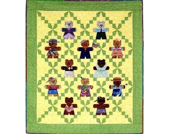 Teddies Play Dress-Up Quilt Pattern instant download PDF