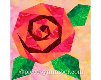 Rosie's Rose quilt block, instant download paper piecing quilt patterns, rose quilt patterns, flower quilt patterns, blossom rose patterns,