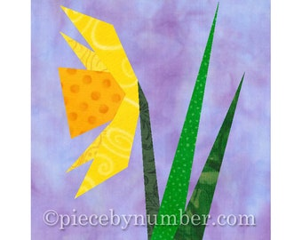Daffodil, instant download paper pieced flower quilt block pattern, foundation piecing quilting block, nature, garden, narcissus