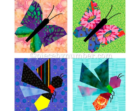 Butterfly Firefly Quilt Block Patterns Paper Pieced Quilt Etsy Enchanting Butterfly Quilt Pattern