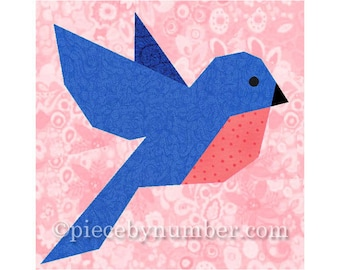 Bluebird quilt block pattern, bird quilt patterns, animal quilt patterns, paper piecing quilt patterns, bird quilt block, PDF quilt patterns