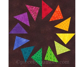 Circle of Geese paper pieced quilt block, instant download