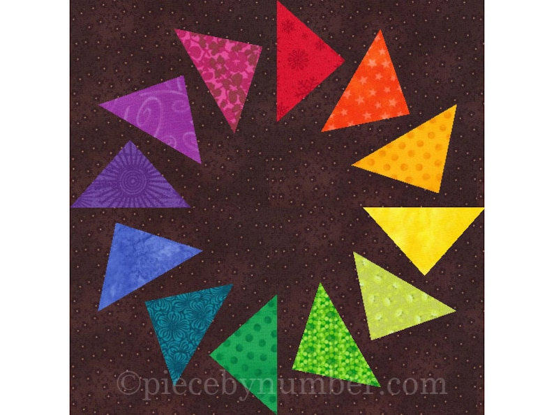 Circle of Geese paper pieced quilt block instant download image 1