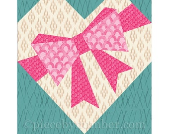 Bow-Tied Heart paper pieced quilt block pattern, instant download PDF patterns, heart quilt patterns