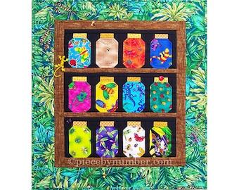 Mini Bug Jar Quilt Pattern, instant download paper pieced quilt pattern, insect critter animal patterns, jam jar, canning jar, mason jar