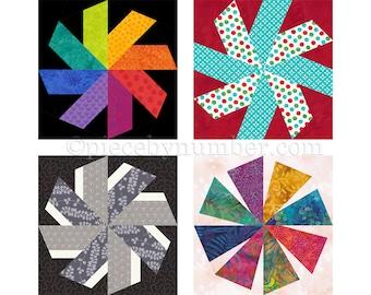 Swirligig quilt block pattern,  instant download paper piecing quilt pattern, whirling star quilt, star pattern, asterisk pattern, starburst