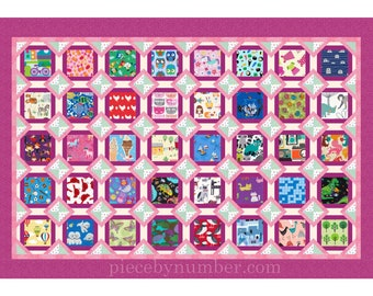 My Favorite Things, an I Spy paper pieced quilt pattern in crib, twin, daybed sizes, instant download, charm squares novelty prints, seniors