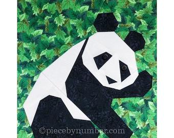 Panda quilt block pattern, instant download paper pieced quilt patterns PDF, panda quilt patterns, animal patterns, animal quilt patterns