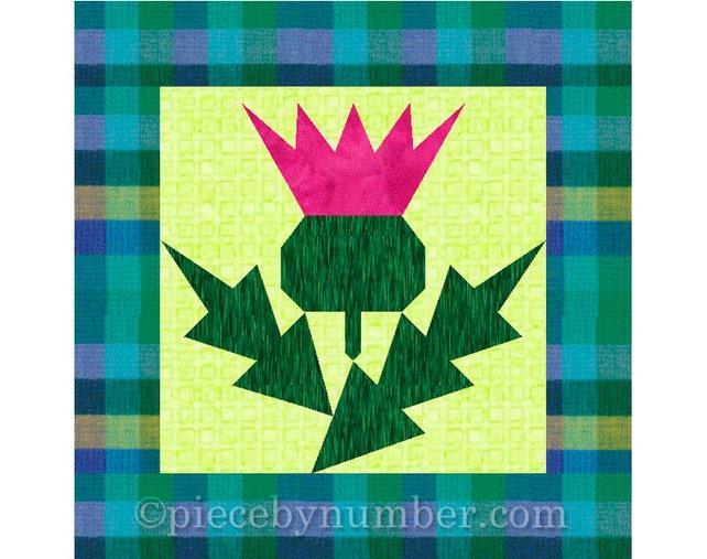 Thistle Flower Quilt Block Pattern Paper Pieced Quilt Etsy