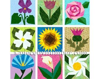 9 Flower Quilt Patterns, paper piecing quilt patterns, instant download PDF flower patterns flower quilt block patterns garden quilt pattern