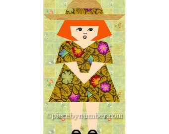 Sophie-Claire little girl quilt block pattern, paper pieced quilt pattern, instant download PDF, kids quilt pattern, baby quilt pattern