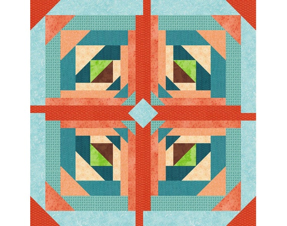 Logging On Paper Pieced Quilt Block Pattern Log Cabin Quilt Block Instant Download Star Quilt Pattern Geometric Quilt Easy Quilt