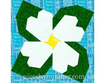 Dogwood Blossom, instant download paper pieced flower quilt block, paper piecing quilt patterns, flower quilt patterns spring garden quilt