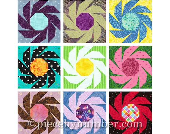 Swiss Daisy Flower Quilt Block Pattern Paper Pieced Quilt Etsy