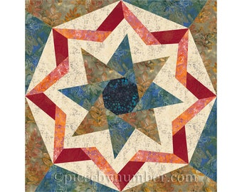 Archimedes Wheel paper pieced quilt block pattern, 8-pointed star, foundation pieced quilt block, geometric, paper piecing