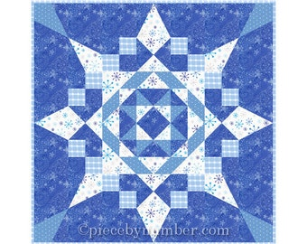 Seven Easy Pieces Quilt Pattern, throw quilt pattern, PDF download, easy paper pieced quilt patterns, snowflake star quilt pattern