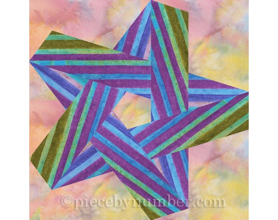 Pentagram Star Quilt Block Pattern Paper Pieced Quilt Etsy Stunning 5 Point Star Quilt Pattern