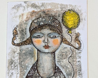 original modern mixed media painting woman yellow balloon neutral color   small  paper art