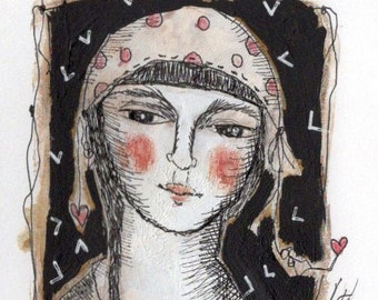 original modern illustration painting woman calm neutal color whimsical hat small  paper art