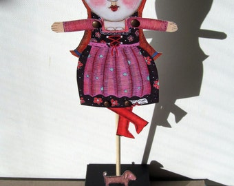 adult paper craft cut out  paper doll with cat puppet diy mixed media folk art home decor fun silly quirky woman