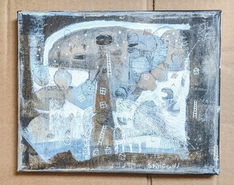 Original mixed media painting on canvas abstract mystery landscape neutral color free ship to Canada and U S.