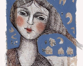 original mixed media dawing illustration woman abstract paper unframed face free ship