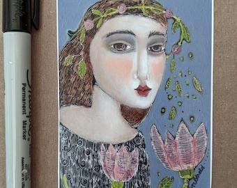 aceo art  woman garden print mini friendship gift collect card insert gift flowers pink