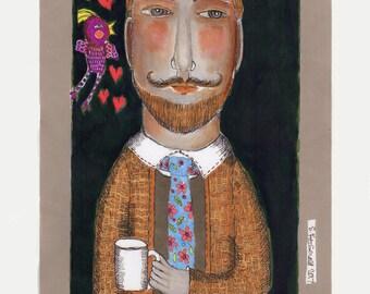 mixed media illustration man mustache coffee heart  paper art bird