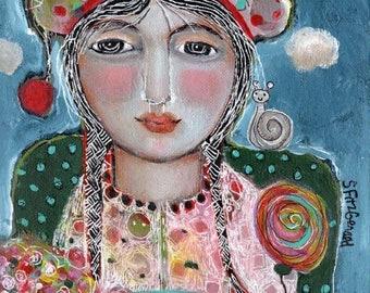 original 8x10 stretched canvas mixed media  woman garden flowers summer hat snail tea modern folk  quirky