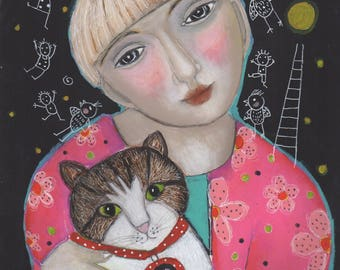 original acrylic paint painting paper girl woman  kitty cat love pink imagination