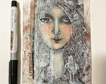original modern mixed media painting woman calm wondering neutral color window  small  paper art