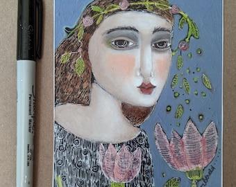 free shipping mini print art woman garden paper unframed gift friendship summer flowers garden pink