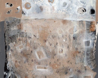 Original mixed media painting on paper abstract mystery  heiroglyphics landscape neutral color free ship everywhere
