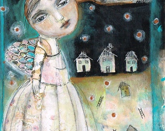 Mixed Media Painting Original Modern Folk Art  collage Expressive Girl Wings free yourself