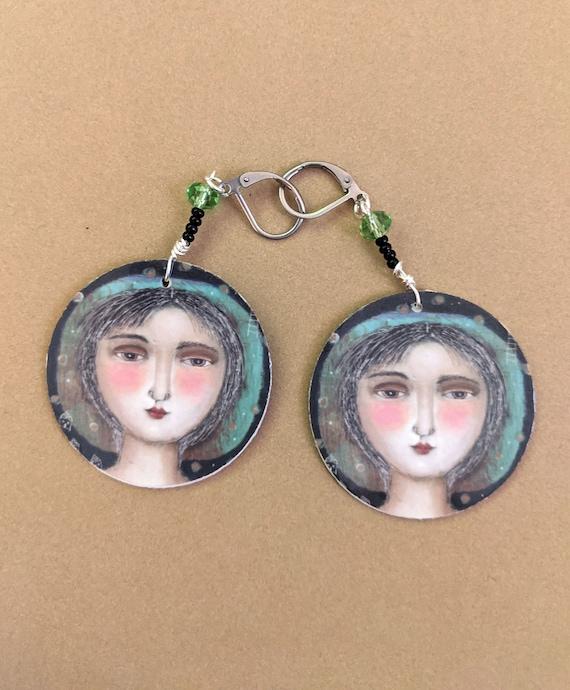 Artist earrings dyeing earrings painting DutchDesignInk