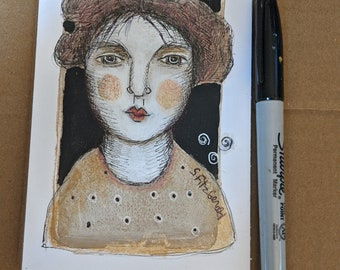 original modern illustration painting woman calm neutal color whimsical small  paper art