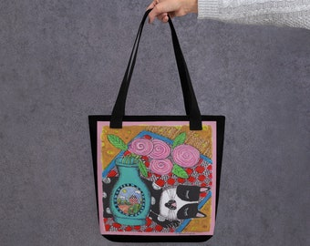 Tote bag whimsical quirky art print kitty cat colorful fun gift