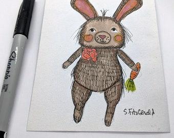 original illustration marker  pencil crayon bunny cute fun whimsical small hoppy paper art