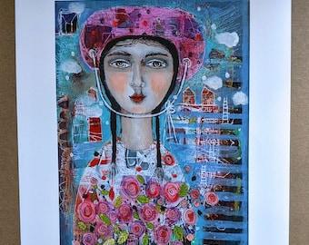 free shipping print art woman garden paper unframed gift friendship summer flowers garden pink